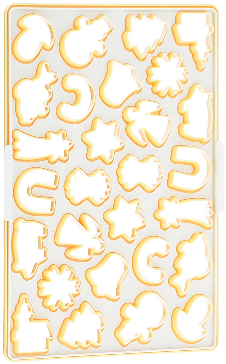 Форма для вырезания печенья Tescoma Delicia, 33 см х 23 см630884Форма Tescoma Delicia изготовлена из первоклассного прочного пластика в виде звездочек, елочек, ангелочков и другого. Прекрасно подходит для быстрого приготовления печенья с рождественскими мотивами, одновременно можно вырезать вплоть до 28 штук. Форма имеет съемный вкладыш для удобства удаления остатков отрезанного теста. Рекомендуется для пряничного и песочного теста. Набор содержит руководство к использованию и рецепт. Можно мыть в посудомоечной машине. Размер самого маленького элемента формы: 3,8 см х 4,2 см. Размер самого большого элемента: 6 см х 2,5 см. Размер формы: 33 см х 23 см.