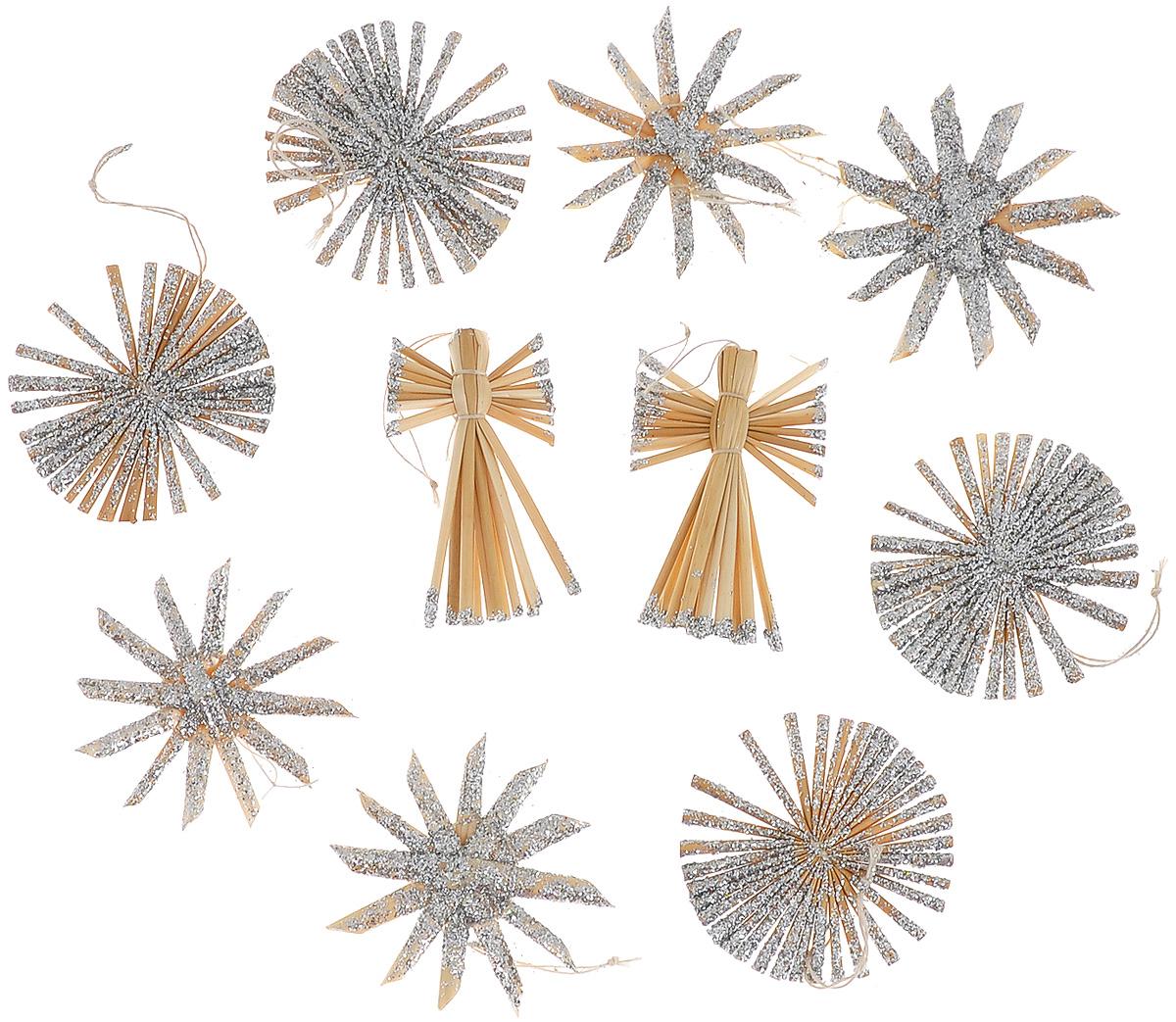 Набор новогодних подвесных украшений Феникс-презент Ангелы и звезды, цвет: серебристый, светло-коричневый, 10 шт38194Набор Феникс-презент Ангелы и звезды, состоящий из 10 новогодних подвесныхукрашений, отлично подойдет для декорации вашего дома и новогодней ели. Изделия выполнены из соломы в виде ангелочков и звезд, оформленных блестками. Украшения имеют специальные петельки для подвешивания. Коллекция декоративных украшений Феникс-презент Ангелы и звезды принесет вваш дом ни с чем не сравнимое ощущение праздника!Средний размер украшения: 5,5 см х 5,5 см.