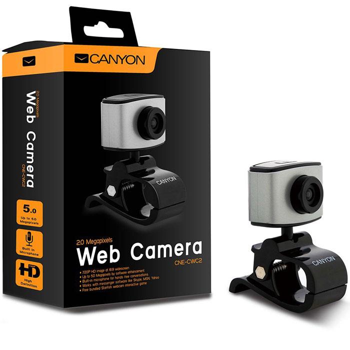 Canyon CNE-CWC2 веб-камераCNE-CWC2Веб-камера Canyon CNE-CWC2 оснащена ручной настройкой фокусировки и функцией отслеживания лица. Разрешения сенсора составляет 2 мегапикселя, что позволит вам получить чёткие изображения и записывать видео. Камера имеет строгий дизайн, практичную функциональность и позволяет получить лучшее качество за меньшие деньги.Максимальная частота захвата кадров: 30 кадров/сДлина кабеля: 1,25 м