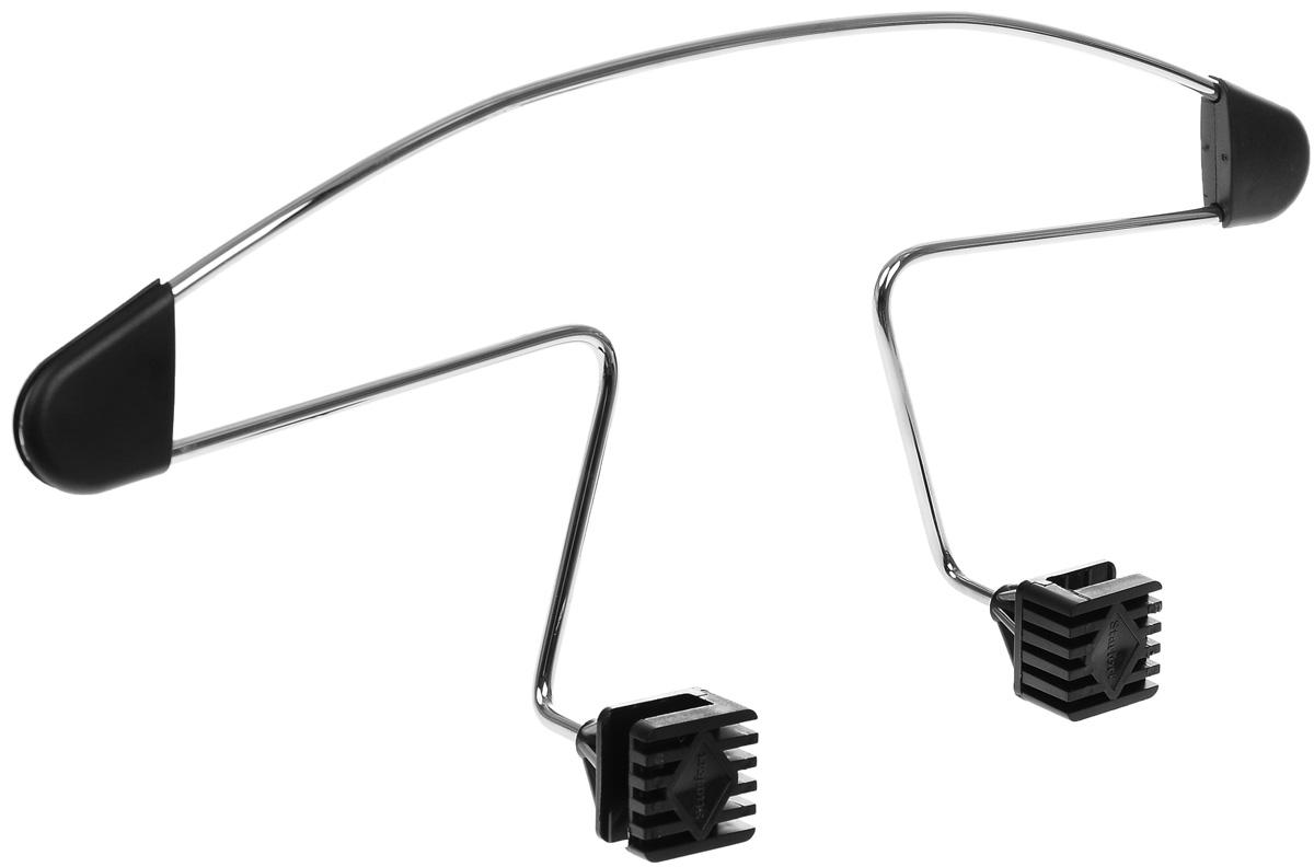 Вешалка автомобильная AVS AV-01, 45 х 18,5 см43660Автомобильная вешалка AVS AV-01 устанавливается на любое переднее сиденье с подголовником на стойках. Прочный стальной каркас не прогнется даже под зимней курткой. Полиуретановые подплечники предотвращают соскальзывание одежды при движении по неровной дороге.Абсолютно не мешают пассажирам заднего сиденья.