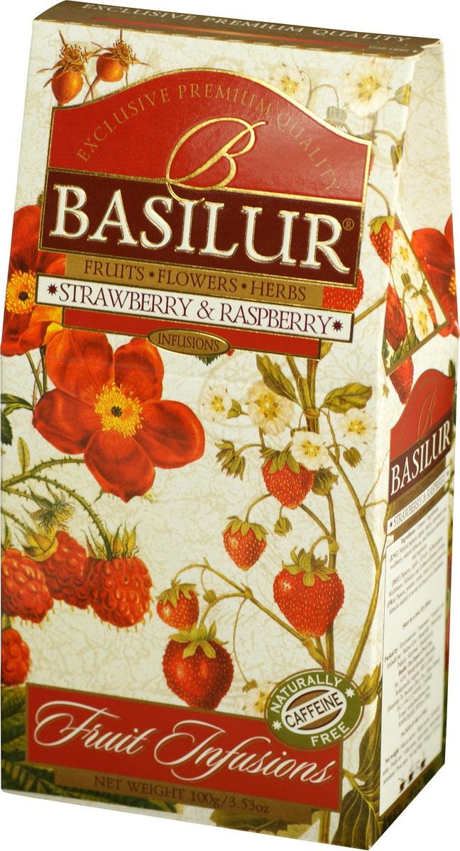 Basilur Strawberry and Raspberry фруктовый листовой чай, 100 г чайники и кофейники на кухню basilur
