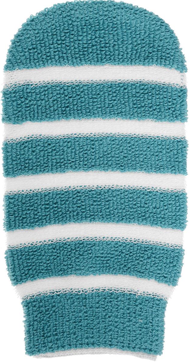 Мочалка-рукавица Riffi, с массажными полосками, цвет: бирюзовый мочалка рукавица riffi жесткая цвет коралловый