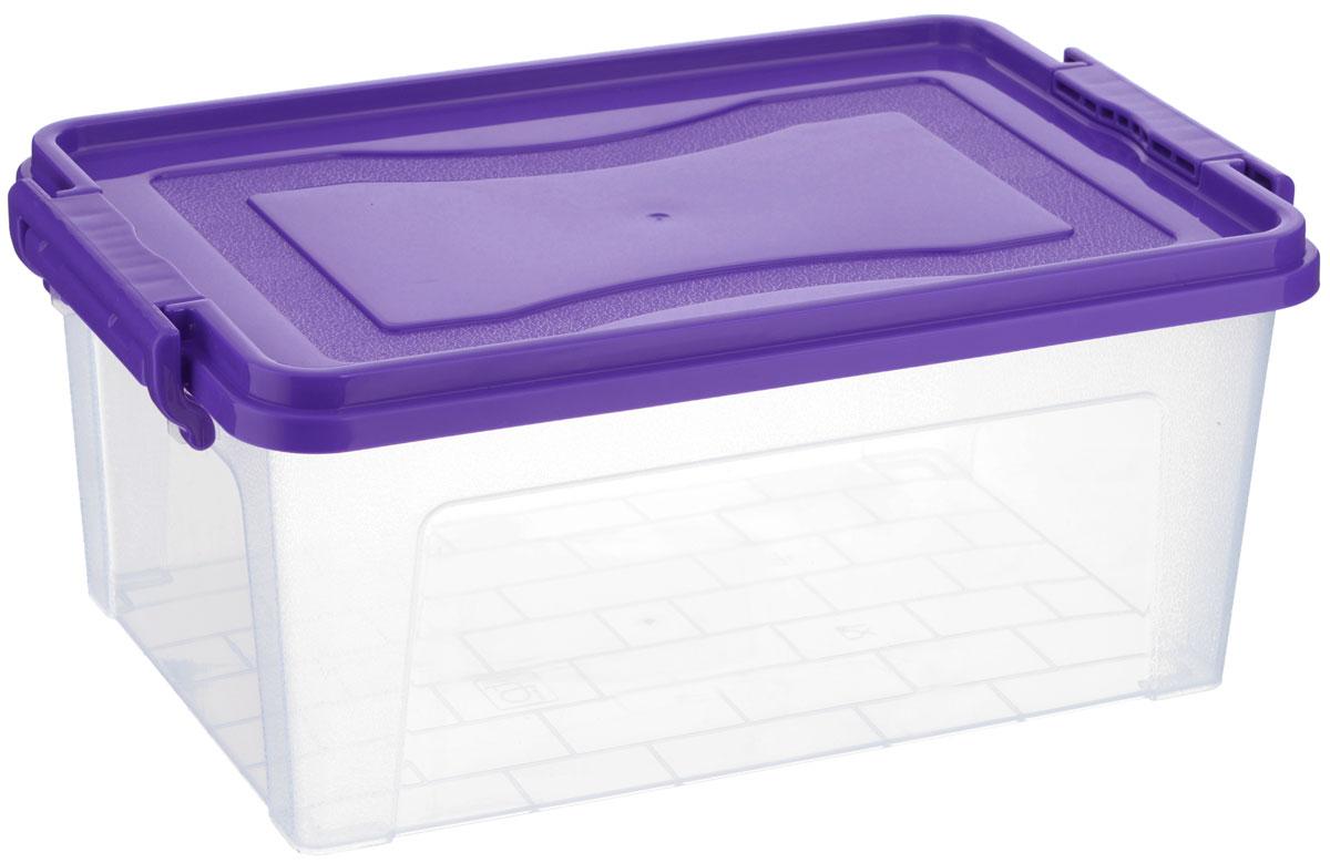 Контейнер для хранения Idea, прямоугольный, цвет: прозрачный, фиолетовый, 8,5 л
