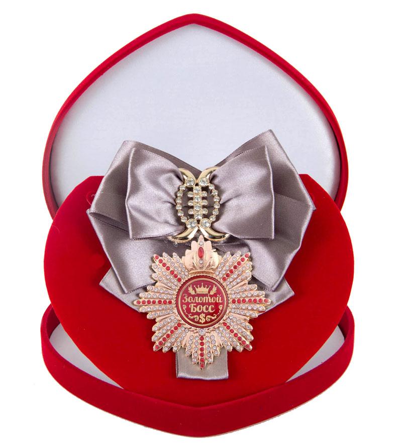 Большой Орден Золотой босс серебряная лента010120011/1Хороший памятный подарок - большой подарочный орден на атласной ленте, упакованный в изящный футляр.