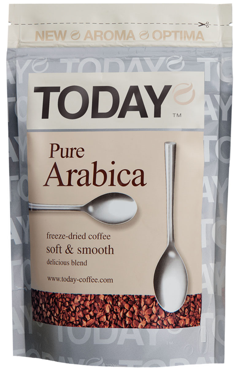 Today Pure Arabica кофе растворимый, 150 г5060300570073Отборные зерна Колумбийской Арабики подарили этому кофе мягкий вкус, легкую смородиновую кислинку и тонкую нотку фруктового оттенка. Today Pure Arabica создан для настоящих гурманов! Приготовлен методом сухой заморозки с использованием эксклюзивной технологии Aroma Optima, которая позволяет сохранить вкус натурального кофе без применения добавок и ароматизаторов.Кофе: мифы и факты. Статья OZON Гид