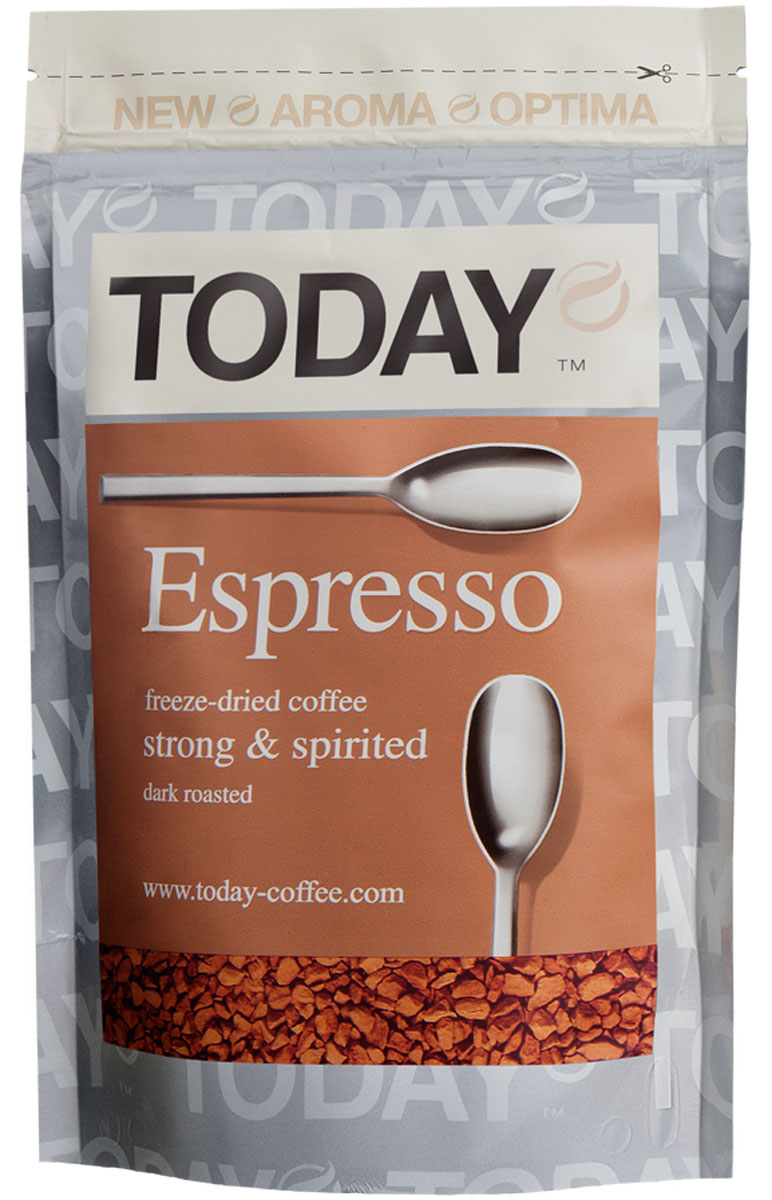 Today Espresso кофе растворимый, 150 г5060300570110Крепкий и насыщенный кофейный вкус Today Espresso поможет проснуться утром и поддержать силы днем всем любителям настоящего итальянского эспрессо. Приготовлен методом сухой заморозки с использованием эксклюзивной технологии Aroma Optima, которая позволяет сохранить вкус натурального кофе без применения добавок и ароматизаторов.Кофе: мифы и факты. Статья OZON Гид