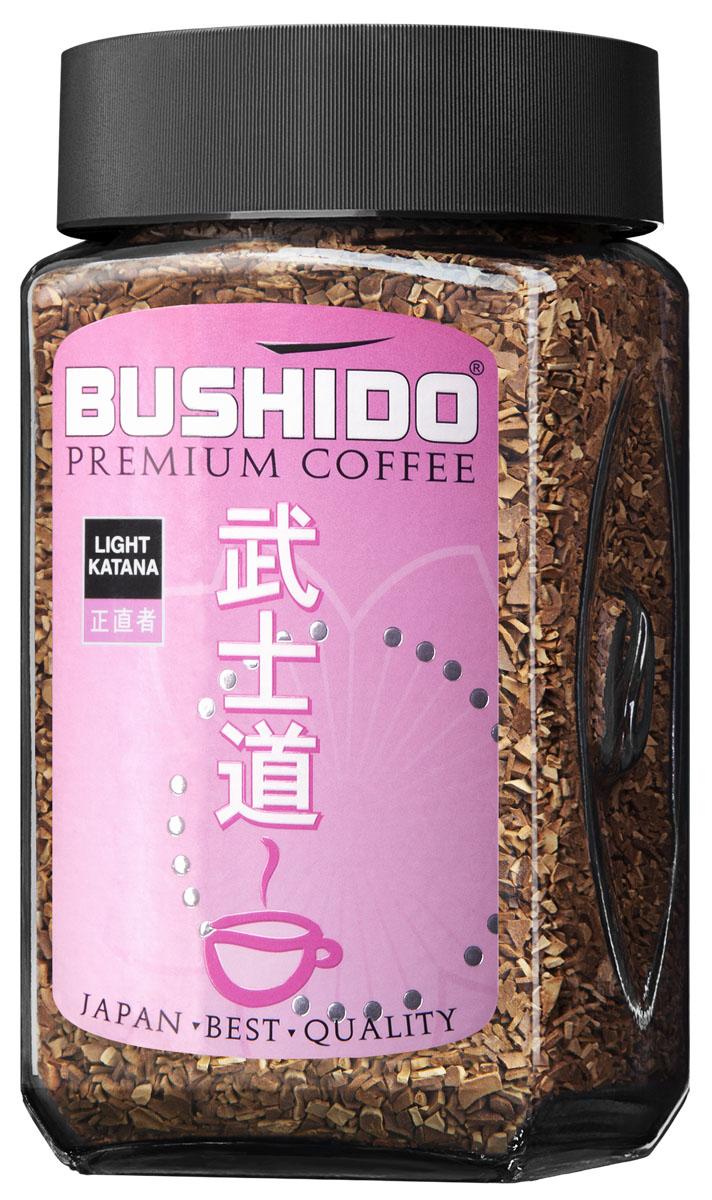Bushido Light Katana кофе растворимый, 100 г7610121710325Bushido Light Katana изготовлен из кофейных зерен Арабики, выращенной на склонах Килиманджаро. Смесь отличает необычайно нежный фруктовый вкус и едва уловимая кислинка.Кофе: мифы и факты. Статья OZON Гид