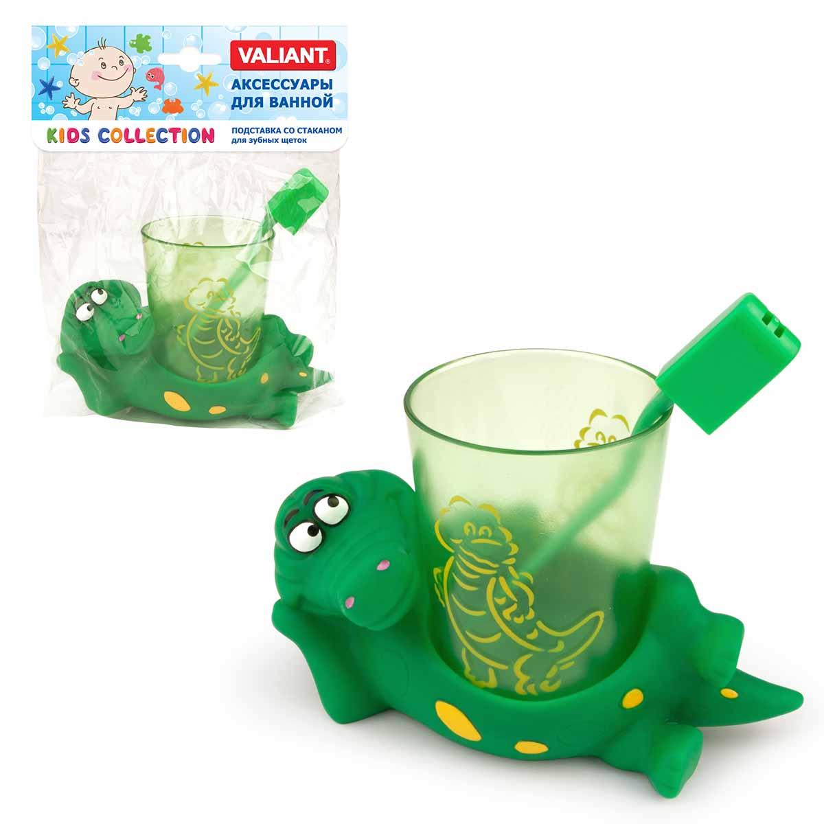 Подставка со стаканом для зубных щеток позволит вашему малышу играючи приучиться к ежедневной гигиене.   Размер: 13 х 8 х 11 см.