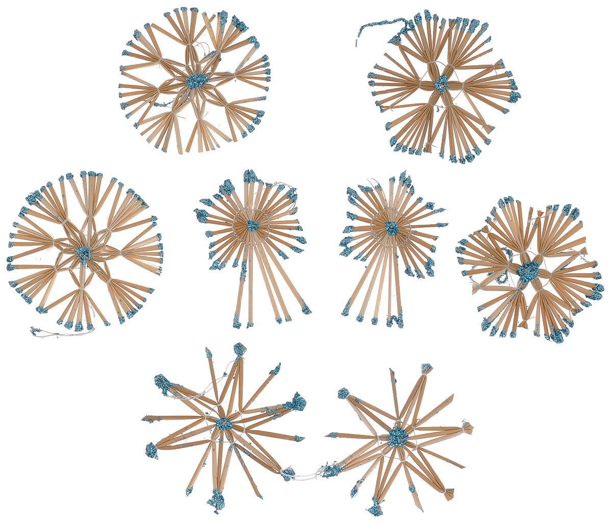 Набор новогодних подвесных украшений Феникс-презент Magic Time, цвет: бирюзовый, светло-коричневый, 8 шт38196Набор Феникс-презент Magic Time, состоящий из 8 новогодних подвесных украшений, отлично подойдет для декорации вашего дома и новогодней ели. Изделиявыполнены из соломы в виде снежинок и звезд, оформленных блестками. Украшения имеют специальные петельки для подвешивания. Коллекция декоративных украшений Феникс-презент Magic Time принесет в ваш дом ни с чем не сравнимое ощущение праздника!Средний размер украшения: 8,5 см х 8,5 см.