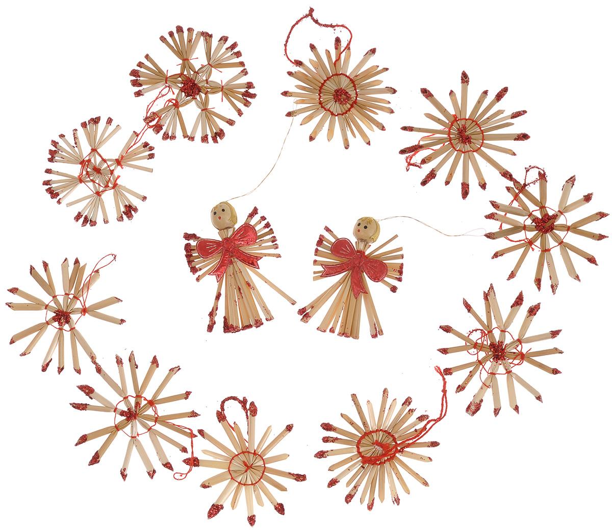 Набор новогодних подвесных украшений Феникс-презент Ангелы и звезды, цвет: красный, светло-коричневый, 12 шт38201Набор Феникс-презент Ангелы и звезды, состоящий из 12 новогодних подвесных украшений, отлично подойдет для декорации вашего дома и новогодней ели. Изделиявыполнены из соломы в виде снежинок и ангелочков, оформленных блестками и бантиками. Украшения имеют специальные петельки для подвешивания. Коллекция декоративных украшений Феникс-презент Ангелы и звезды принесет в ваш дом ни с чем не сравнимое ощущение праздника!Средний размер украшения: 6 см х 6 см.