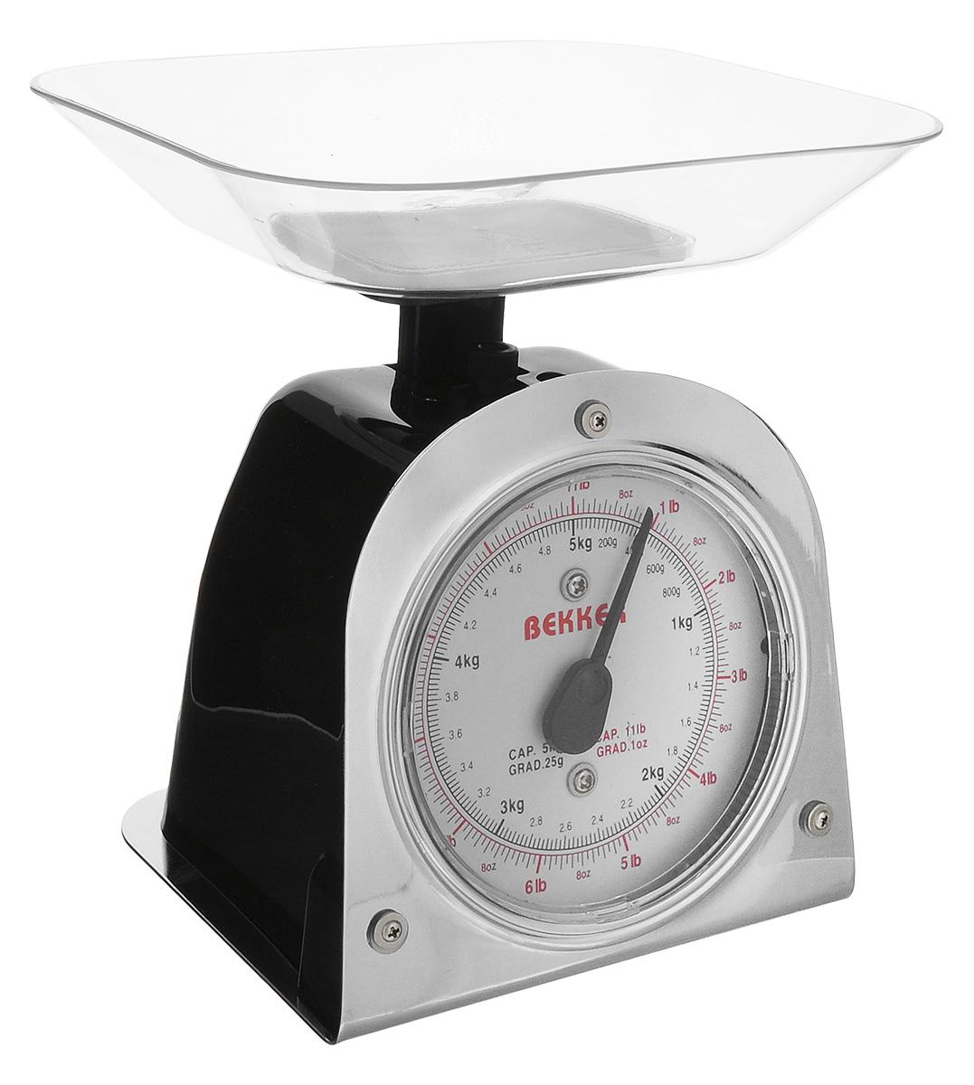 Весы кухонные Bekker Koch, цвет: черный, серебристый, до 5 кг ножи кухонные koch systeme набор ножей серии good4u 3 предмета koch systeme