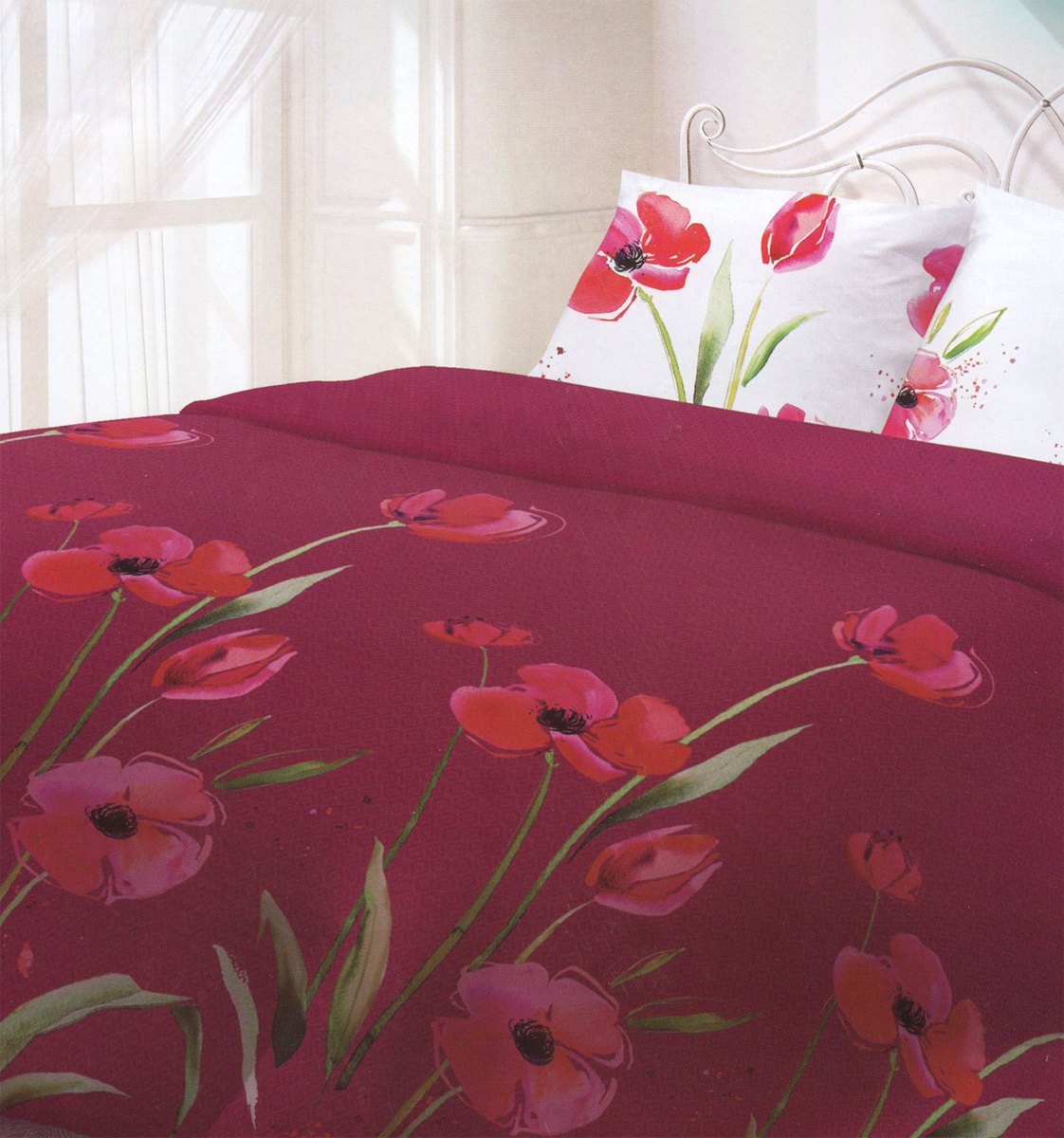 Комплект белья Гармония Маки, евро, наволочки 70x70, цвет: бордовый, белый, розовый190826Комплект постельного белья Гармония Маки является экологически безопасным, так как выполнен из поплина (100% хлопок). Комплект состоит из пододеяльника, простыни и двух наволочек. Постельное белье оформлено оригинальным рисунком и имеет изысканный внешний вид.Постельное белье Гармония - лучший выбор для современной хозяйки! Его отличают демократичная цена и отличное качество.Гармония производится из поплина - 100% хлопковой ткани. Поплин мягкий и приятный на ощупь. Кроме того, эта ткань не требует особого ухода, легко стирается и прекрасно держит форму. Высококачественные красители, которые используются при производстве постельного белья, экологичны и сохраняют свой цвет даже после многочисленных стирок.Благодаря высокому качеству ткани и европейским стандартам пошива постельное белье Гармония будет радовать вас долгие годы!