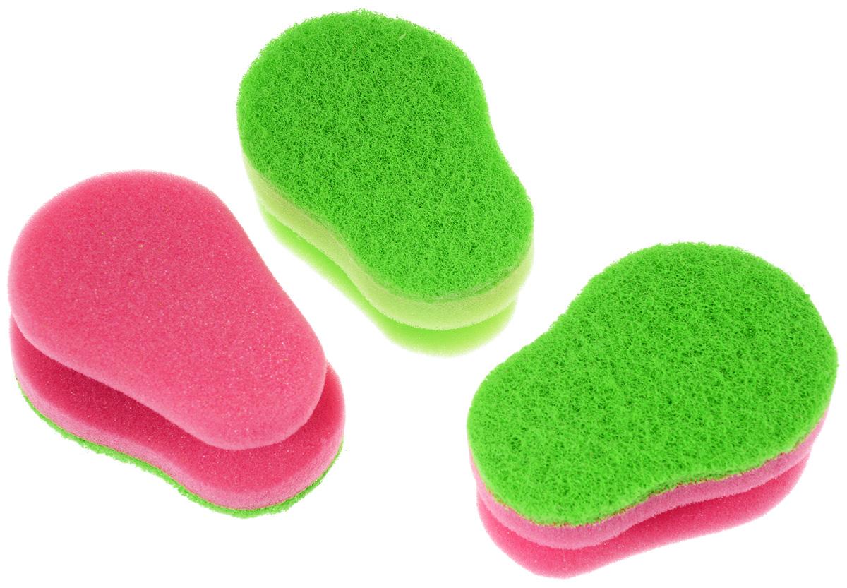 Набор губок для мытья посуды Aqualine, цвет: зеленый, розовый, 3 шт1127_зеленый, розовыйНабор Aqualine состоит из трех эргономичных губок, предназначенных для мытья посуды из тефлона, стекла, фарфора, хрусталя, полированной стали, стеклокерамики.Губки отлично удаляют жир, грязь и пригоревшую пищу, не царапая посуду. Жесткая сторона губки не содержит абразива, чистит основательно и бережно, хорошо впитывает жидкость. Губки позволяют расходовать минимальное количество чистящих средств. Специальные пазы для пальцев по краям губок защитят ваши руки во время мытья посуды.Размер губки: 10 см х 4,2 см х 7 см.