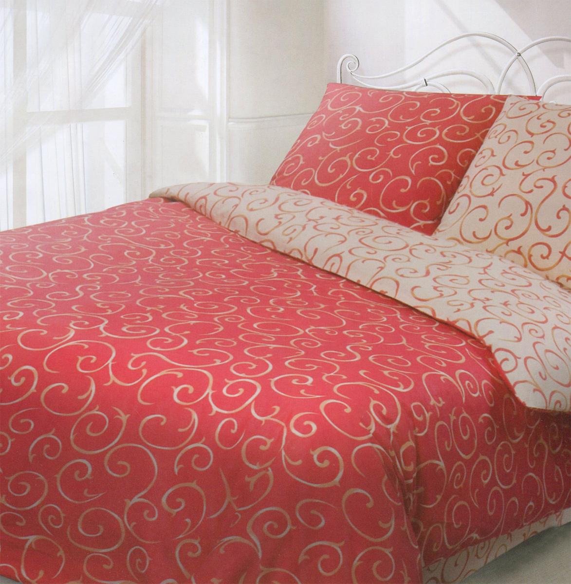 Комплект белья Гармония Барокко, евро, наволочки 50x70, цвет: красный, бежевый190816Комплект постельного белья Гармония Барокко является экологически безопасным, так как выполнен из поплина (100% хлопок). Комплект состоит из пододеяльника, простыни и двух наволочек. Постельное белье оформлено оригинальным орнаментом и имеет изысканный внешний вид.Постельное белье Гармония - лучший выбор для современной хозяйки! Его отличают демократичная цена и отличное качество.Гармония производится из поплина - 100% хлопковой ткани. Поплин мягкий и приятный на ощупь. Кроме того, эта ткань не требует особого ухода, легко стирается и прекрасно держит форму. Высококачественные красители, которые используются при производстве постельного белья, экологичны и сохраняют свой цвет даже после многочисленных стирок.Благодаря высокому качеству ткани и европейским стандартам пошива постельное белье Гармония будет радовать вас долгие годы!