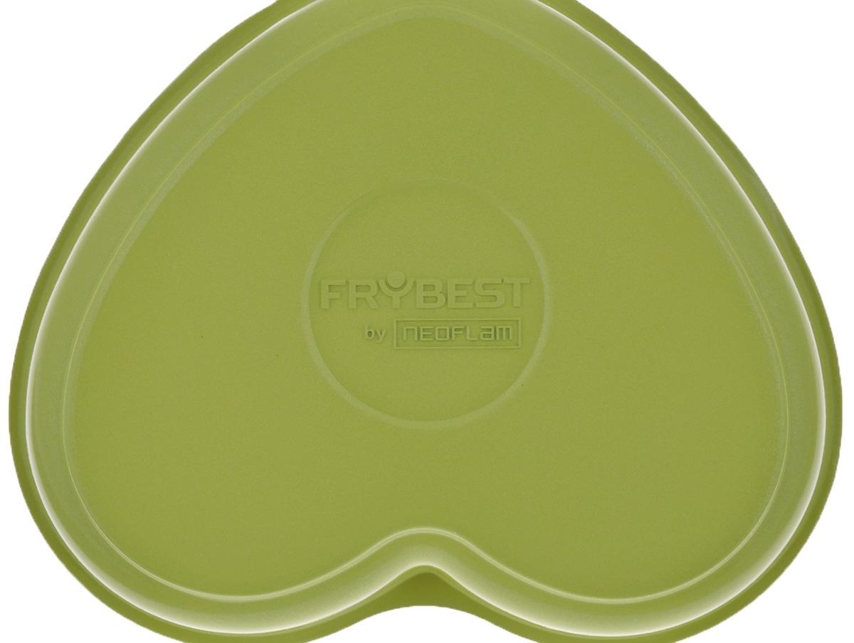 """Сковорода Frybest """"Oliva. Сердце"""" изготовлена по новейшей технологии из литого алюминия с керамическим антипригарным покрытием """"Ecolon Coating"""", в производстве которого используются только природные материалы, безопасные для здоровья. Внешнего покрытия добавляет сковороде необычности, а удлиненные бакелитовые ручки, с покрытием soft-touch, делают ее невероятно приятной и удобной в использовании. Изделие выполнено в форме сердца. Почувствуйте себя опытным профессионалом и воплотите в жизнь самые смелые кулинарные фантазии!Подходит для электрических, стеклокерамических и газовых плит. Не подходит для индукционных плит. Можно мыть в посудомоечной машине. Размер (по верхнему краю): 14,5 см х 12,5 см.Высота стенок: 2,5 см.Толщина стенок: 0,3 см.Толщина дна: 0,3 см.Длина ручки: 10 см."""