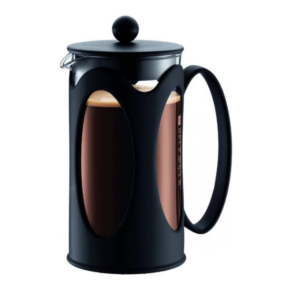 """Кофейник Bodum """"Kenya"""" изготовлен из высококачественного стекла и оснащен фильтром """"french press"""" из  нержавеющей стали, который позволяет легко и просто приготовить отличный напиток. Кофейник оснащен  удобной пластиковой ручкой, что исключает его выскальзывание из руки и помещен в оправу из пластика,  которая эффективно защищает стекло.      Настоящим ценителям натурального кофе широко известны основные и наиболее часто применяемые способы  его приготовления: эспрессо, по-турецки, гейзерный. Однако существует принципиально иной способ,  известный как """"french press"""", благодаря которому приготовление ароматного напитка стало гораздо проще."""