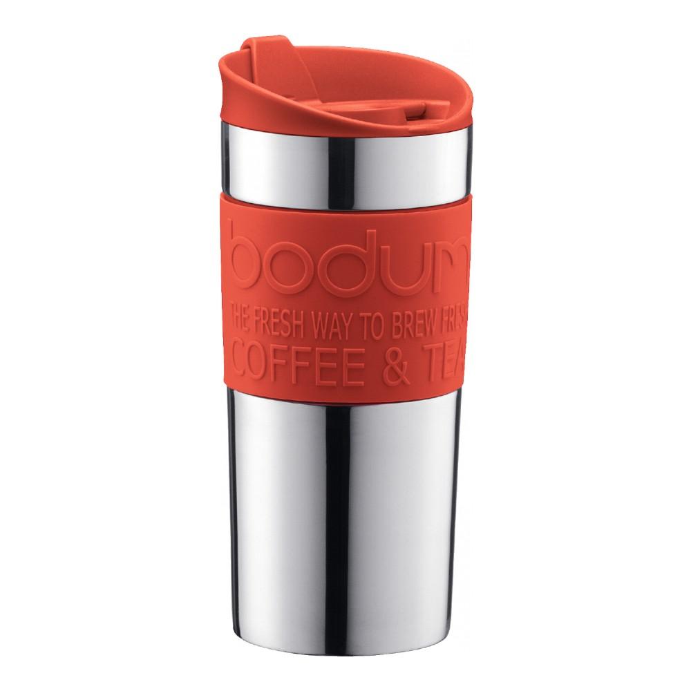 Кружка дорожная Bodum Travel, цвет: красный, 350 мл. 11068-29411068-294Кружка дорожная Travel выполнена из пластика и оснащена закручивающейся крышкой, в которой есть небольшой клапан с отверстием для питья. Это исключает выплескивание жидкости и позволяет использовать кружку даже во время поездок в автомобиле. Кружка имеет прорезиненное дно.Кружка незаменима на пикнике, в офисе, в автомобильной поездке. Она хороша в качестве подарка. Не обрабатывать абразивными моющими средствами.
