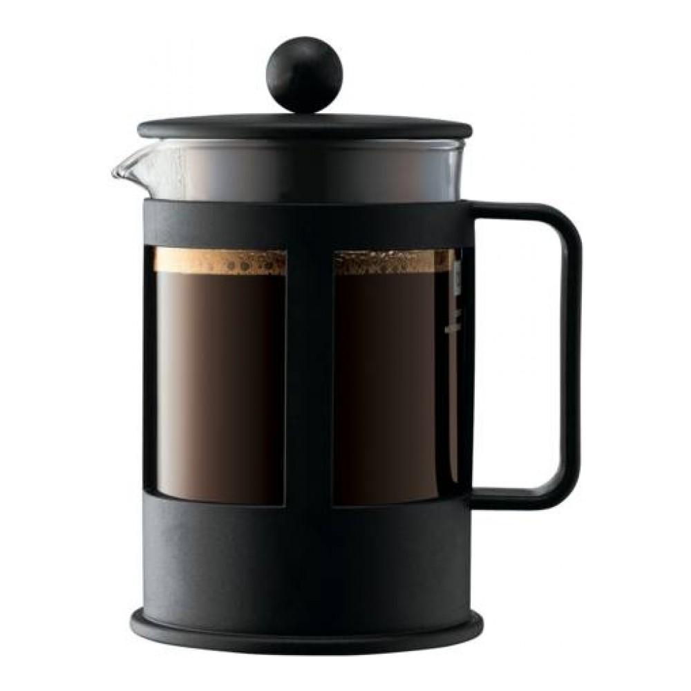 Кофейник с прессом Bodum Kenya, 0,5 л, цвет: черный. 1784-011784-01Кофейник Bodum Kenya изготовлен из высококачественного стекла и оснащен фильтром french press из нержавеющей стали, который позволяет легко и просто приготовить отличный напиток. Кофейник оснащен удобной пластиковой ручкой, что исключает его выскальзывание из руки и помещен в оправу из пластика, которая эффективно защищает стекло. Настоящим ценителям натурального кофе широко известны основные и наиболее часто применяемые способы его приготовления: эспрессо, по-турецки, гейзерный. Однако существует принципиально иной способ, известный как french press, благодаря которому приготовление ароматного напитка стало гораздо проще.
