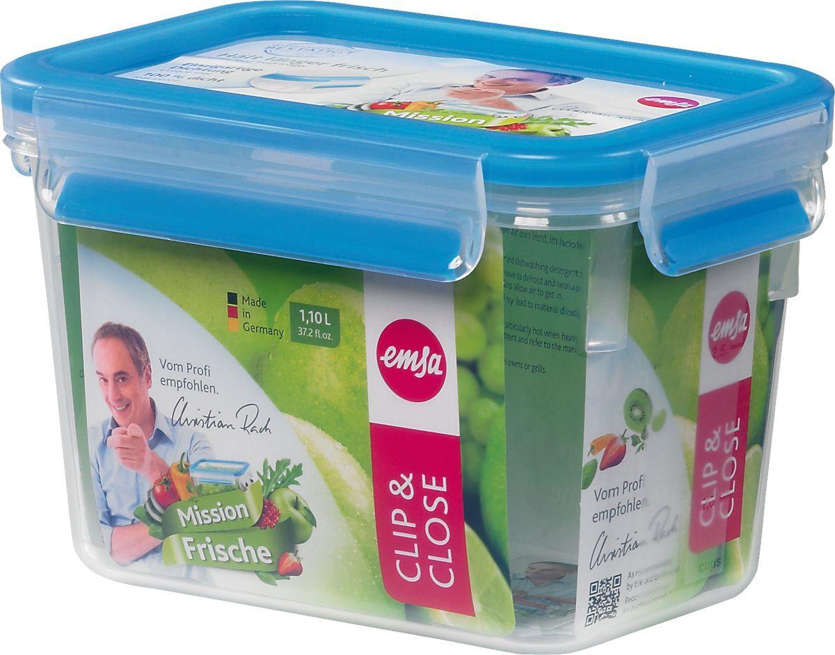 Контейнер прямоугольный Emsa Clip&Close, 1,1 л508541Контейнер для хранения продуктов Emsa Clip&Close изготовлен из высококачественного пищевого пластика. Изделие оснащено герметичной крышкой на защелках.При хранении или перевозке еды герметичность, гигиеничность и длительное сохранение свежести продуктов гарантированы на 100%. Перекладывать в сервировочную посуду больше не нужно: симпатичную пластиковую чашу можно смело ставить на стол.Подходит для приготовления и разогревания пищи в микроволновке, а также для заморозки. Можно мыть в посудомоечной машине.