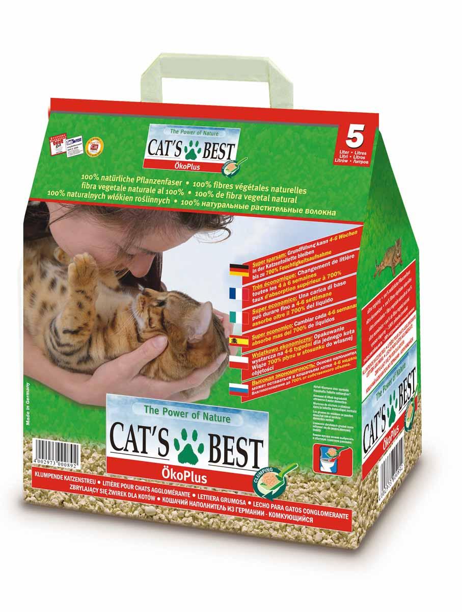 Наполнитель древесный комкующийся Cat's Best Eko Plus, 5 л (2,1 кг) наполнитель зооник древесный 5л 06234