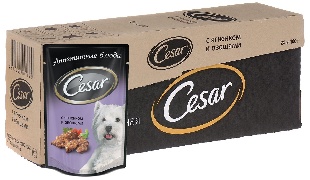 Консервы Cesar для взрослых собак, с ягненком и овощами, 100 г, 24 шт39668Консервы Cesar - это полнорационный консервированный корм для взрослых собак всех пород. Нежнейшие кусочки мяса, дополненные свежими овощами - идеальное блюдо для любой собаки.Консервы приготовлены исключительно из натурального сырья. Не содержат искусственных красителей, консервантов и усилителей вкуса. Состав: мясо и субпродукты минимум 40% (в том числе ягненок минимум 4%), овощи (минимум 4%), злаки, витамины, минеральные вещества.Пищевая ценность в 100 г: белки - 9 г, жир - 4,5 г, зола - 2 г, клетчатка - 0,5 г, влага - 80 г, витамин А - не менее 150 МЕ, витамин Е - не менее 1,2 мг. Энергетическая ценность в 100 г: 85 ккал.Товар сертифицирован.В упаковке 24 пакетика по 100 г.