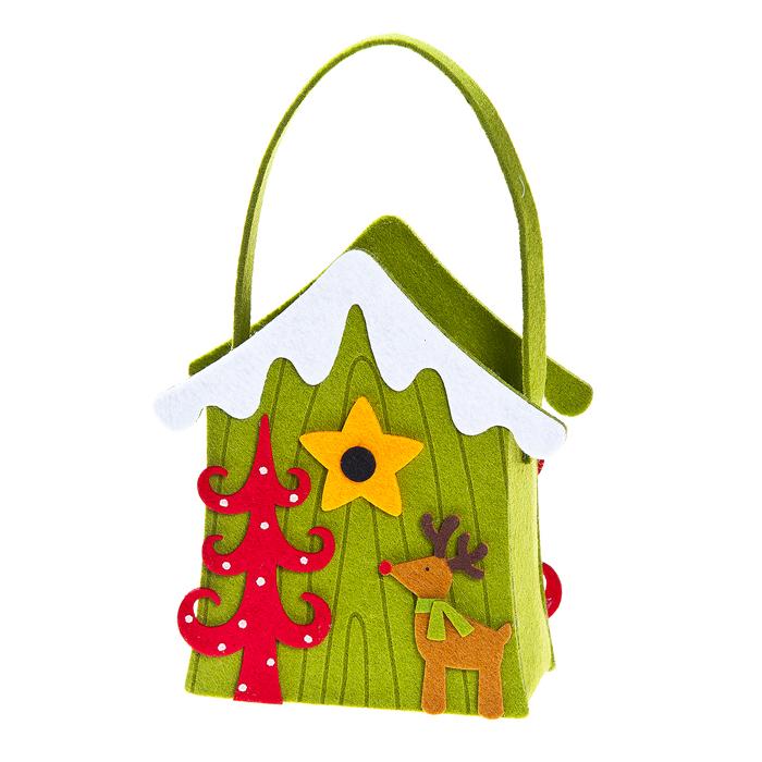 Декоративная корзинка Рождественский домик, цвет: зеленый, 19 см х 14 см х 7 см гирлянда электрическая lunten ranta сосулька 20 светодиодов длина 2 85 м