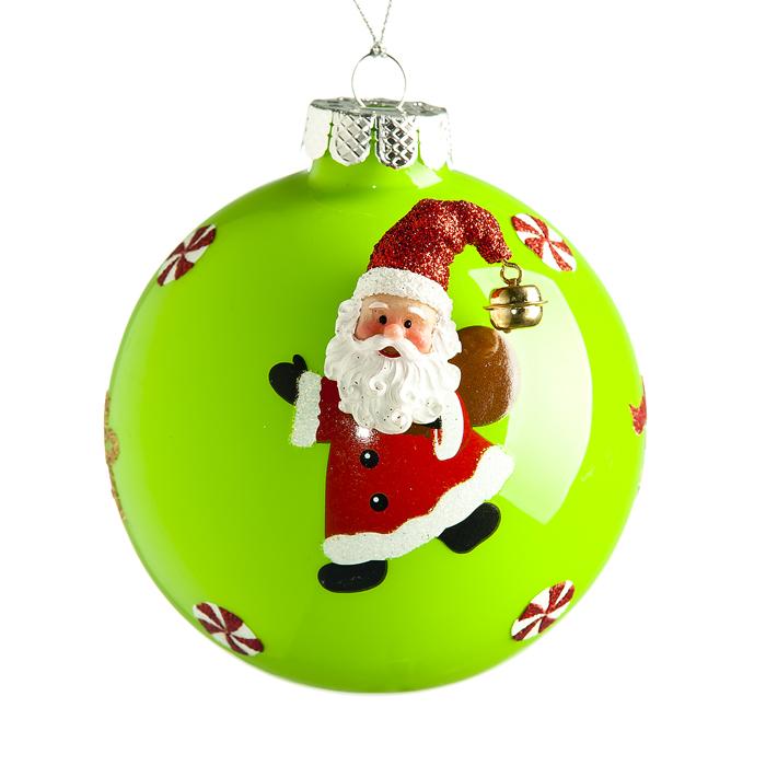 Новогоднее подвесное украшение Its a Happy Day Дед Мороз с подарком, цвет: зеленый, диаметр 10 см66525Подвесное украшение Its a Happy Day Дед Мороз с подарком, выполненное из стекла, прекрасно подойдет для праздничного декора вашей ели. Оригинальное новогоднее украшение в виде шара оформлено объемным изображением Деда Мороза. С помощью специальной текстильной петельки его можно повесить в любом понравившемся вам месте. Но удачнее всего такая игрушка будет смотреться на праздничной елке. Елочная игрушка - символ Нового года и Рождества. Она несет в себе волшебство и красоту праздника. Создайте в своем доме атмосферу веселья и радости, украшая новогоднюю елку нарядными игрушками, которые будут из года в год накапливать теплоту воспоминаний.