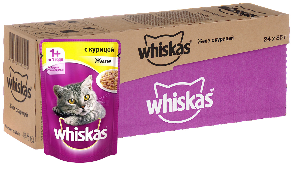 Консервы Whiskas для кошек от 1 года, желе с курицей, 85 г, 24 шт39891Консервы для кошек от 1 года Whiskas - полнорационный сбалансированный корм, который идеально подойдет вашему любимцу. Аппетитное рагу приготовлено с учетом потребностей взрослых кошек. Специально сбалансированный рацион содержит все питательные вещества, витамины и минералы, необходимые кошке в этом возрасте. Консервы не содержат сои, консервантов, ароматизаторов, искусственных красителей и усилителей вкуса.В рацион домашнего любимца нужно обязательно включать консервированный корм, ведь его главные достоинства - высокая калорийность и питательная ценность. Консервы лучше усваиваются, чем сухие корма. Также важно, чтобы животные, имеющие в рационе консервированный корм, получали больше влаги.Состав: мясо и субпродукты (в том числе курица минимум 4%), таурин, злаки, витамины, минеральные вещества. Пищевая ценность в 100 г: белки - 7,5 г, жиры - 3,5 г, клетчатка - 0,3 г, зола - 2,5 г, витамин А - не менее 150 МЕ, витамин Е - не менее 1,0 мг, влага - 85 г.Энергетическая ценность в 100 г: 60 ккал/251 кДж.Товар сертифицирован.В упаковке 24 пакетика по 85 г.
