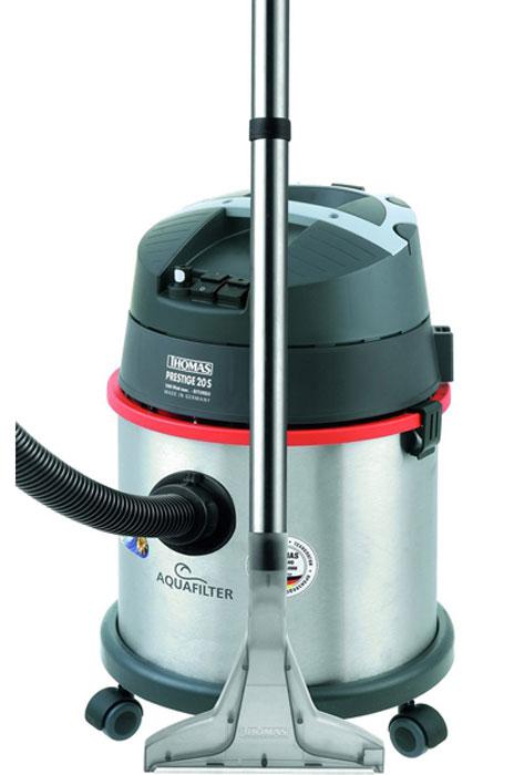 Thomas 788103 Prestige 20S Aquafilter пылесосPrestige 20S Aquafilter (788103)Пылесос Thomas Prestige 20S Aquafilter с водным фильтром предназначен для сухой и влажной уборки. Модель оснащена двадцатилитровой емкостью. Для сухой уборки используется резервуар, объемом 4.7 л, который наполняется водой. Максимально гигиеничная уборка - собранная грязь помещается в воду, по окончанию работы нужно лишь вылить воду из контейнера. Пыльца, бактерии и клещи остаются в воде. Мешки-пылесборники вам больше не пригодятся. Естественная фильтрация воды удерживает мельчайшие частицы и одновременно увлажняет выходящий воздух. Для влажной уборки рекомендуется использовать специальный шампунь ThomasProtex (входит в комплект). Моющий раствор подается через специальную оросительную насадку.Встроенный индикатор напомнит о необходимости очистки контейнера. Корпус пылесоса сделан из высококачественной нержавеющей стали, что делает его долговечным. Водяной фильтр с циклонной фильтрацией обеспечивает очистку воздуха на 99,998%. С помощью данной модели можно собирать пролитую жидкость, а также удалять засоры в раковине. Устройство имеет устойчивую и маневренную цилиндрическую конструкцию. Щелевая насадка удалит пыль из узких углублений, стыков и других труднодоступных мест. Длинный сетевой шнур удобен для уборки больших помещений. На корпусе находится отсек, в котором можно хранить все насадки.Двуступенчатая турбинаНагнетательный насос моющего раствора 4 бараРезервуар для чистой воды 4,7 л.Может собрать 7 л. грязной водыКорпус 20 л из нержавеющей сталиЭргономичная рукояткаМикрофильтрФиксаторы для насадок на моторном отсекеТрубы из нержавеющей сталиФиксатор кабеляПарковочное положениеБрызгозащищенный корпус