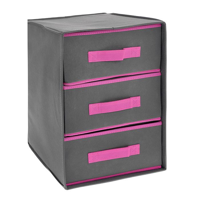Кофр для хранения, 3 ящика, цвет: серый, розовый, 30 х 30 х 41,5 см