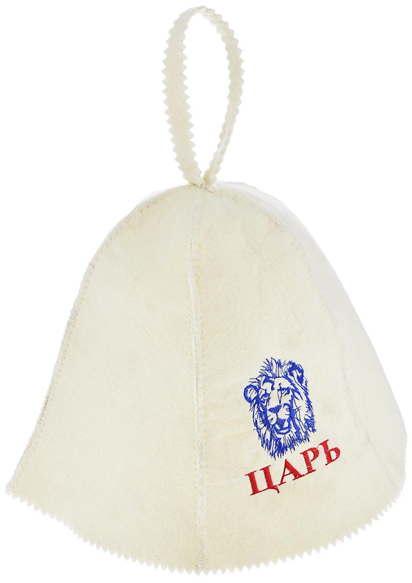 Шапка для бани и сауны Банные штучки Царь, цвет: белый, синий