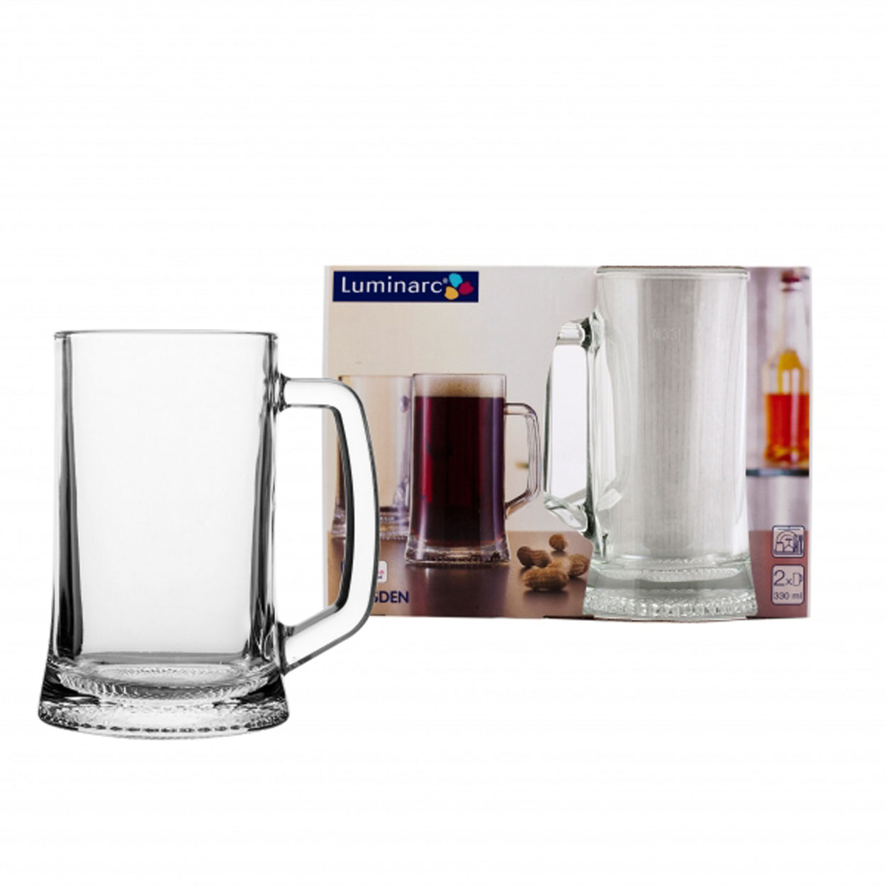 Набор кружек для пива Luminarc Дрезден, 330 мл. H5112H5112Набор состоит из двух кружек, предназначенных для пива, которые изготовлены из ударопрочного стекла.Можно мыть в посудомоечной машине.Объем кружки: 330 мл.