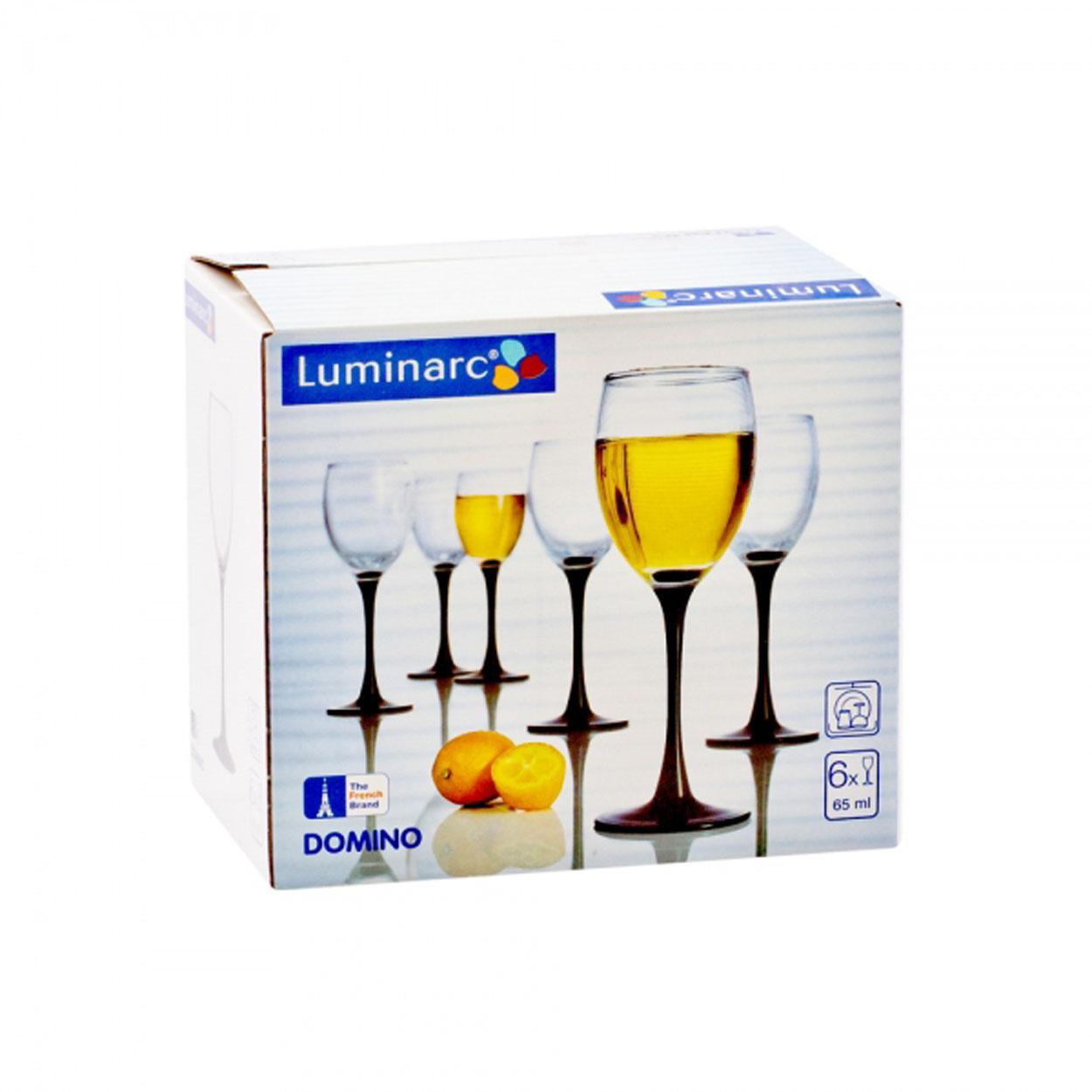 Набор рюмок Luminarc Домино, 65 мл, 6 шт. H8166H8166Набор Luminarc состоит из 6 рюмок. Изделия выполнены из прочного стойкого стекла. Красивая ножка, изготовленная в темных тонах, придаст утонченность сервировке вашего стола.Объем рюмки: 65 мл.