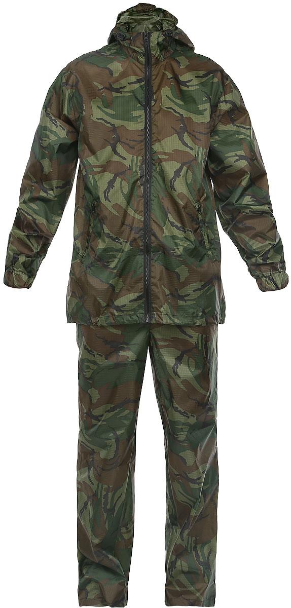 Костюм влагозащитный Picrest Карелия, цвет: камуфляж. КР-48-50. Размер 48/50КР-48-50Влагозащитный костюм Карелия, состоящий из куртки и брюк, изготовлен из высококачественного материала Taffeta c PU покрытием. Ткань Taffeta RipStop изготовлена из полиэфирных (лавсановых) волокон, что делает ее более прочной и более устойчивой к воздействию ультрафиолета. Ткань свободно пропускает влагу и испарения, так как не имеет пленки. RipStop - усиливающая нить, благодаря которой ткань устойчива на разрыв. PU - полиуретановое покрытие, которое обеспечивает водонепроницаемость ткани, ткань выдерживает давление воды, соответствующее 3000 (2000) мм водяного столба. Куртка свободного кроя с капюшоном и длинными рукавами дополнен центральной разъемной застежкой-молнией. Капюшон не отстегивается и регулируется по объему при помощи кулиски. Брюки свободного кроя на талии дополнены затягивающимся шнурком. Эластичная тесьма также вшита в манжеты рукавов. Предусмотрены в куртке врезные карманы на молнии. Костюм идеально подойдет для похода в лес или для работы на даче в дождливую погоду. Костюм упакован в чехол аналогичной расцветки.