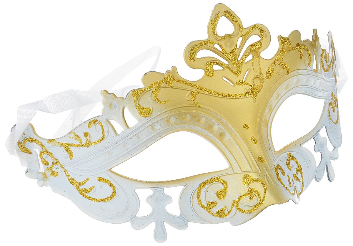 """Маска карнавальная Феникс-презент """"Нежность"""", цвет: золотистый, белый"""