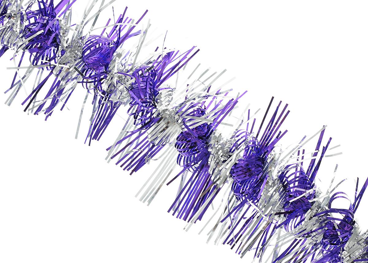 Мишура новогодняя Феникс-презент Magic Time, цвет: фиолетовый, серебристый, диаметр 9 см, длина 200 см. 3486338668Мишура новогодняя Феникс-презент Magic Time, выполненная из ПЭТ (полиэтилентерефталата), поможет вам украсить свой дом к предстоящим праздникам. Мишура армирована, то есть имеет проволоку внутри и способна сохранять приданную ей форму. Новогодняя елка с таким украшением станет еще наряднее. Новогодней мишурой можно украсить все, что угодно - елку, квартиру, дачу, офис -как внутри, так и снаружи. Можно сложить новогодние поздравления, буквы и цифры,мишурой можно украсить и дополнить гирлянды, можно выделить дверные колонны,оплести дверные проемы.