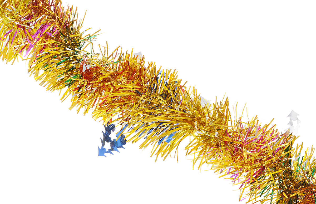 Мишура новогодняя Феникс-презент Magic Time, цвет: золотистый, синий, диаметр 6 см, длина 200 см. 3818038180/75771Мишура новогодняя Феникс-презент Magic Time, выполненная из ПЭТ (полиэтилентерефталата), поможет вам украсить свой дом к предстоящим праздникам. Мишура армирована, то есть имеет проволоку внутри и способна сохранять приданную ей форму. Новогодняя елка с таким украшением станет еще наряднее. Новогодней мишурой можно украсить все, что угодно - елку, квартиру, дачу, офис -как внутри, так и снаружи. Можно сложить новогодние поздравления, буквы и цифры,мишурой можно украсить и дополнить гирлянды, можно выделить дверные колонны,оплести дверные проемы.