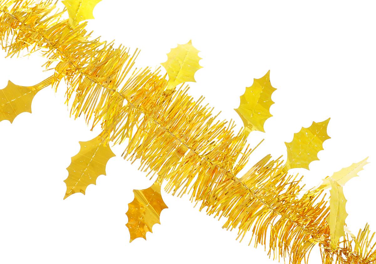 Мишура новогодняя Феникс-презент Magic Time, цвет: золотистый, длина 200 см. 3490234902/75767Мишура новогодняя Феникс-презент Magic Time выполнена из ПЭТ (полиэтилентерефталата) и украшена декоративными листочками. Изделие поможет вам украсить свой дом к предстоящим праздникам. Мишура армирована, то есть имеет проволоку внутри и способна сохранять приданную ей форму.Новогодняя елка с таким украшением станет еще наряднее. Новогодней мишурой можно украсить все, что угодно - елку, квартиру, дачу, офис - как внутри, так и снаружи. Можно сложить новогодние поздравления, буквы и цифры, мишурой можно украсить и дополнить гирлянды, можно выделить дверные колонны, оплести дверные проемы.Размер листа: 5,5 см х 2,5 см.