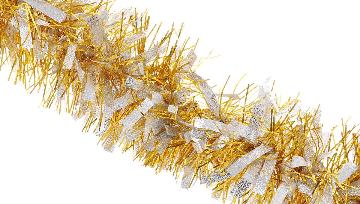Мишура новогодняя Феникс-презент Magic Time, цвет: золотистый, серебристый, диаметр 9 см, длина 200 см34886/75761Мишура новогодняя Феникс-презент Magic Time, выполненная из ПЭТ (полиэтилентерефталата), поможет вам украсить свой дом к предстоящим праздникам. Мишура армирована, то есть имеет проволоку внутри и способна сохранять приданную ей форму.Новогодняя елка с таким украшением станет еще наряднее. Новогодней мишурой можно украсить все, что угодно - елку, квартиру, дачу, офис - как внутри, так и снаружи. Можно сложить новогодние поздравления, буквы и цифры, мишурой можно украсить и дополнить гирлянды, можно выделить дверные колонны, оплести дверные проемы.