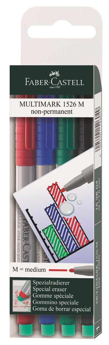 Faber-Castell Капиллярная ручка Multimark M для письма на пленке 4 цвета152604Капиллярная ручка Multimark предназначена для письма на CD, DVD дисках, пленках для проекторов и других гладких поверхностях. Ручка с обратной стороны содержит специальный ластик для стирания чернил.Чернила быстросохнущие, с яркими цветами, корпус изготовлен из прочного пластика.В наборе 4 цвета: черный, красный, синий, зеленый.