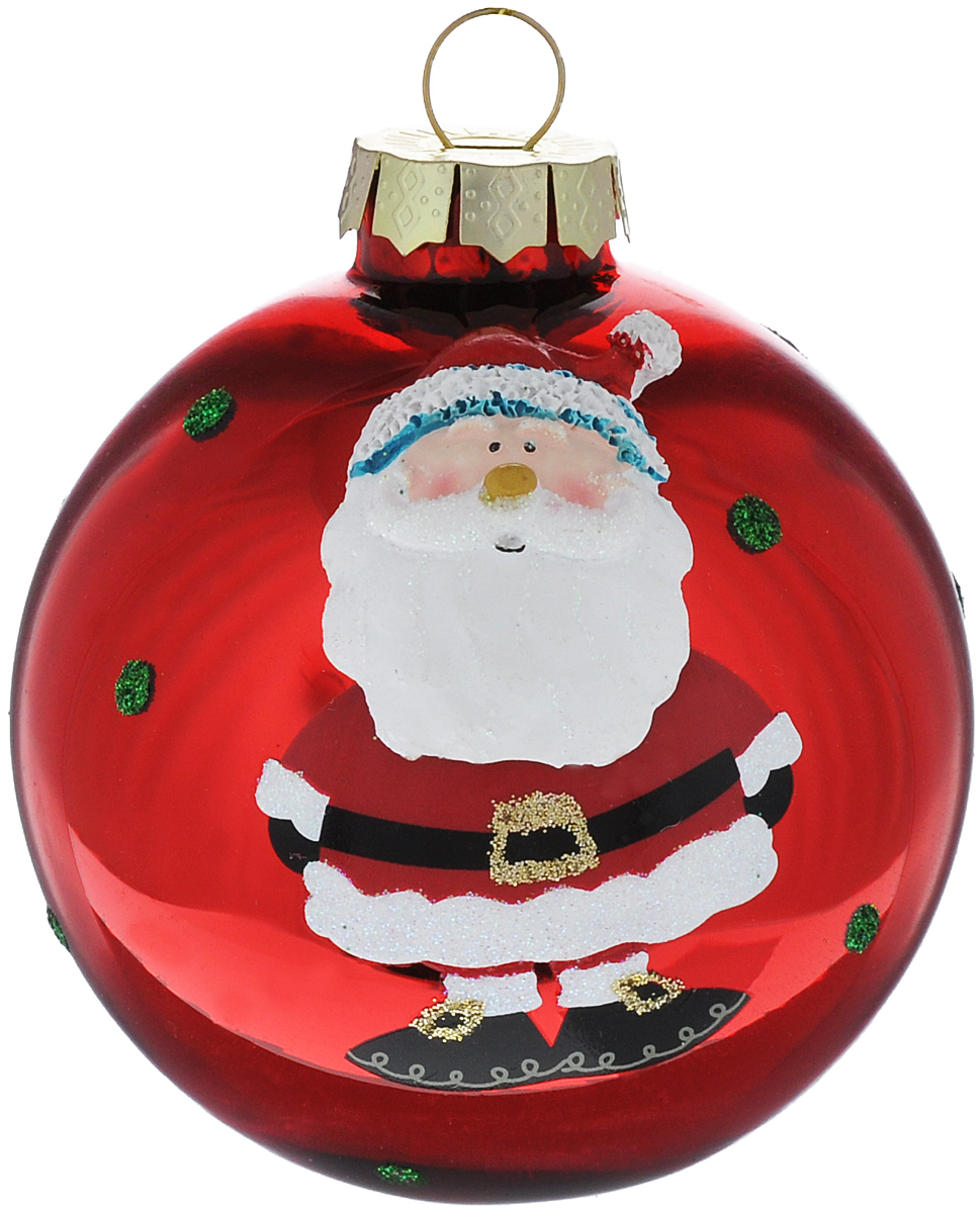 Новогоднее подвесное украшение Its a Happy Day Дедушка Мороз, цвет: красный, диаметр 8 см66493Подвесное украшение Its a Happy Day Дедушка Мороз, выполненное из стекла, прекрасно подойдет для праздничного декора вашей ели. Оригинальное новогоднее украшение в виде шара оформлено объемным изображением Деда Мороза и блестками. С помощью специальной текстильной петельки его можно повесить в любом понравившемся вам месте. Но, конечно, удачнее всего такая игрушка будет смотреться на праздничной елке. Елочная игрушка - символ Нового года и Рождества. Она несет в себе волшебство и красоту праздника. Создайте в своем доме атмосферу веселья и радости, украшая новогоднюю елку нарядными игрушками, которые будут из года в год накапливать теплоту воспоминаний.