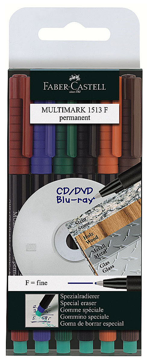 Faber-Castell Капиллярная перманентная ручка Multimark F для письма на CD 6 цветов