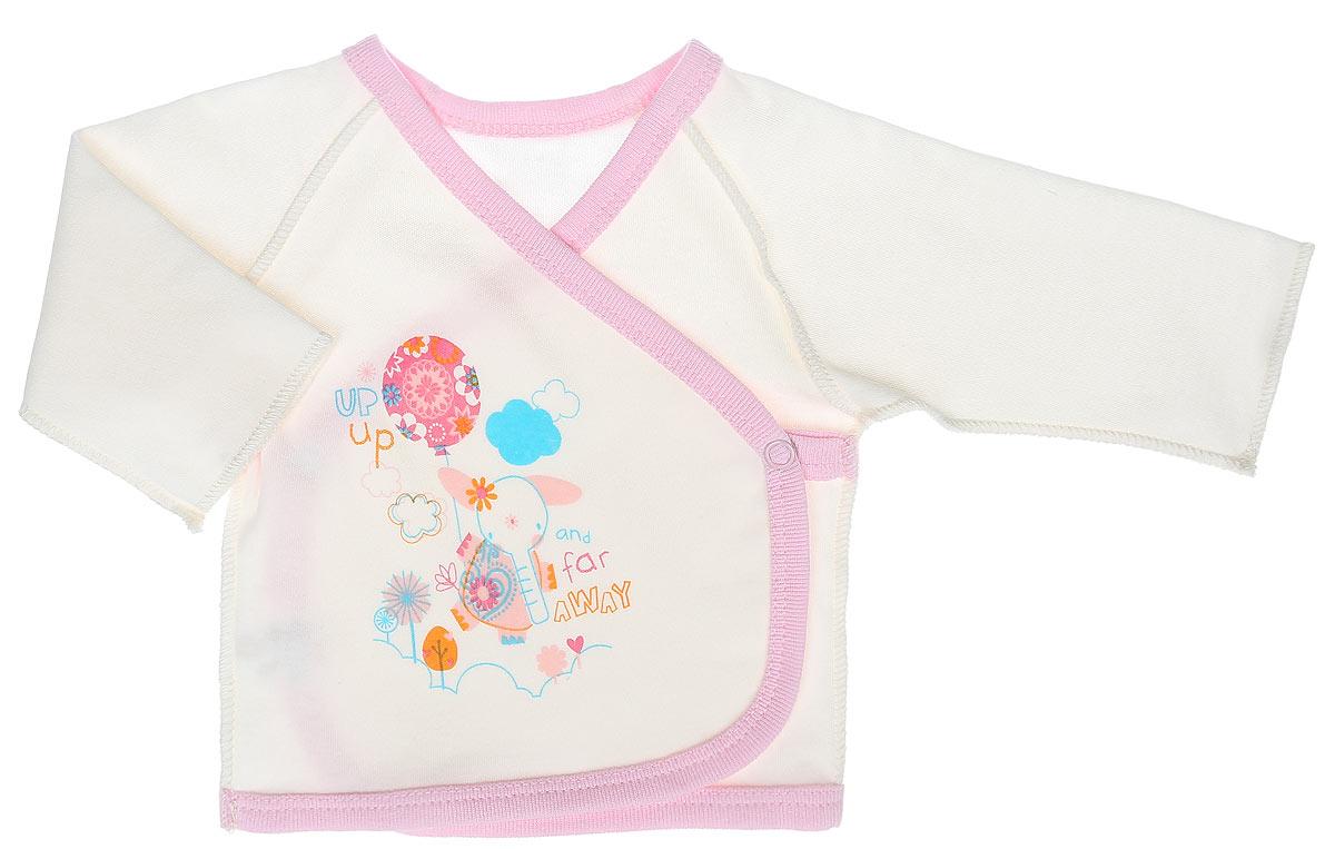 Распашонка-кимоно для девочки КотМарКот Слоник, цвет: молочный, розовый. 3457. Размер 62, 1-3 месяца распашонка для девочки котмаркот дрим цвет розовый белый 4270 размер 68 3 6 месяцев