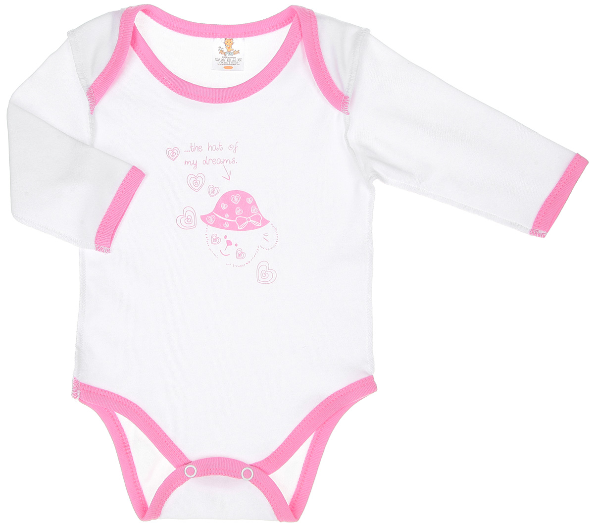 Боди с длинным рукавом детское КотМарКот Мишка в шляпе, цвет: белый, розовый. 3975. Размер 62, 1-3 месяца