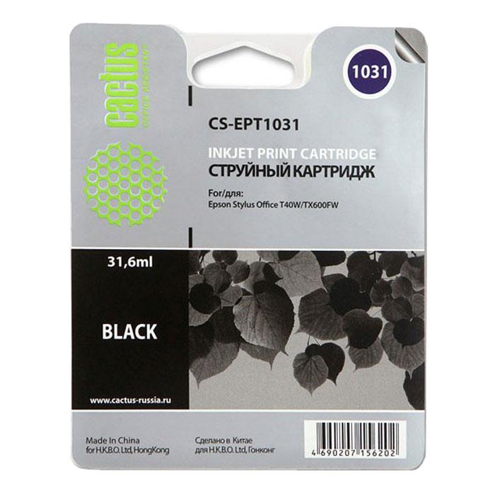 Cactus CS-EPT1031, Black струйный картридж для Epson Stylus Office T40/T40w/TX600/TX600fwCS-EPT1031Картридж Cactus CS-EPT1031 для струйных принтеров Epson.Расходные материалы Cactus для монохромной печати максимизируют характеристики принтера. Обеспечивают повышенную чёткость чёрного текста и плавность переходов оттенков серого цвета и полутонов, позволяют отображать мельчайшие детали изображения. Обеспечивают надежное качество печати.