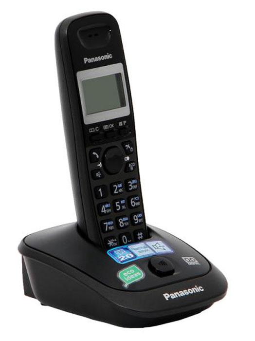 Panasonic KX-TG2521 RUT DECT телефонKX-TG2521RUTРадиотелефон Panasonic KX-TG2521RUT сделает разговор с близкими и коллегами удобным и необременительным. Функция Caller ID определяет номер звонящего абонента, а один из десяти имеющихся полифонических сигналов оповестит владельца о входящем вызове. При нажатии специальной кнопки на базовой станции аппарат начинает издавать звуковые и световые сигналы и позволяет быстро найти потерянную трубку. На подсвечиваемом дисплее отображается вся необходимая информация о разговоре и степени заряда аккумулятора. Одна из дополнительных функций - русскоязычная записная книжка, способная сохранять до пятидесяти номеров. Телефон способен находиться без подзарядки до 170 часов в режиме ожидания и до 18 часов в режиме разговора. Режим Eco включается при нажатии одной кнопки и делает модель экономичной по энергопотреблению. АОН, Caller ID (журнал на 50 вызовов)Цифровой автоответчик (до 20 минут)Спикерфон на трубкеГолосовой АОНТелефонный справочник (50 записей)Полифонические мелодии звонкаКириллица на дисплееВремя / дата на дисплееПовторный набор номераПереход в Эко режим одним нажатиемДо 18 ч в режиме разговораДо 170 ч в режиме ожидания