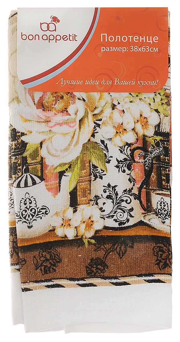 Полотенце кухонное Bon Appetit Деко, цвет: белый, коричневый, 63 см х 38 см bon appetit кухонное полотенце тыква 38х63 см