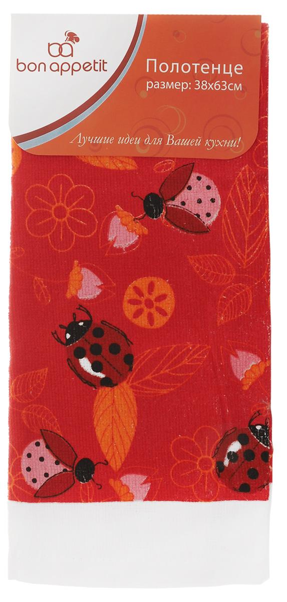 Полотенце кухонное Bon Appetit Жуки, цвет: красный, розовый, оранжевый, 63 х 38 см полотенце кухонное bon appetit деко цвет белый коричневый 63 см х 38 см