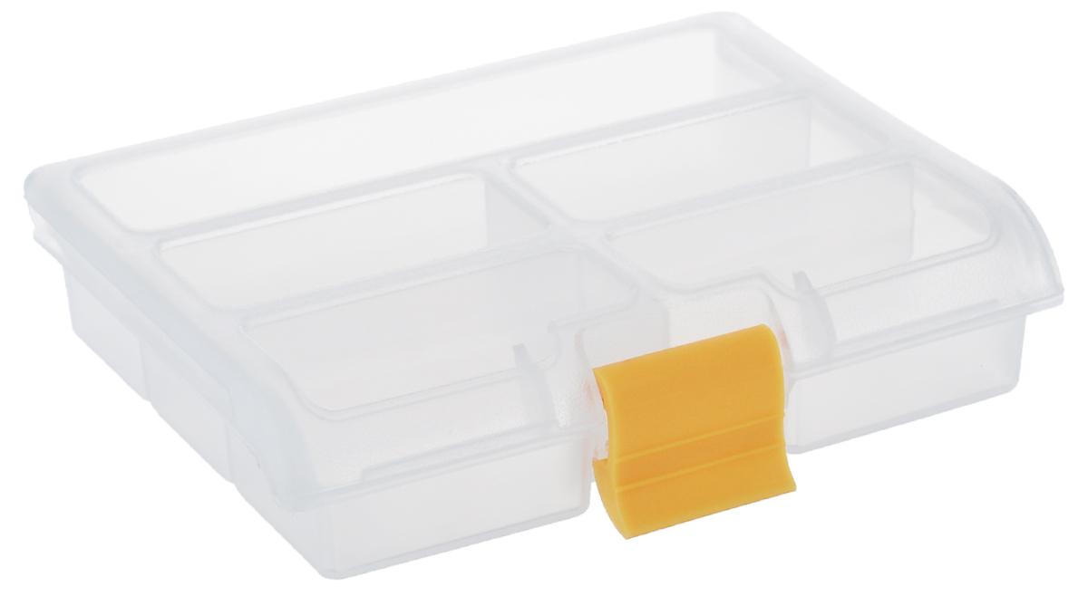 """Органайзер """"Idea"""" выполнен из высококачественного полипропилена и предназначен для хранения различных мелочей. В органайзере имеется 5 ячеек, размер которых позволяет хранить в них различные бусины, мелочи для рукоделия, например, бисер, блестки, стразы и другое. Прозрачная крышка изделия - легко открывается и плотно закрывается на застежку. С таким органайзером у вас всегда будет порядок на вашем рабочем столе.Размер малой ячейки: 7 см х 3,5 см х 2,5 см; размер большой ячейки: 13 см х 3,5 см х 2,5 см."""