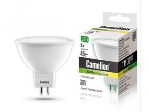 Лампа светодиодная Camelion, теплый свет, цоколь GU5.3, 5W5-S108/830/GU5.3Энергосберегающая лампа Camelion - это инновационное решение, разработанное на основе новейших светодиодных технологий (LED), для эффективной замены любых видов галогенных или обыкновенных ламп накаливания во всех типах осветительных приборов. Служит в 30 раз дольше обычных ламп. Она хорошо подойдет для создания рабочей атмосферы в производственных и общественных зданиях, спортивных и торговых залах, в офисах и учреждениях. Лампа не содержит ртути и других вредных веществ, экологически безопасна и не требует утилизации, не выделяет при работе ультрафиолетовое и инфракрасное излучение. Обладает высокой вибро- и ударопрочностью в связи с отсутствием нити накаливания и стеклянных трубок. Обеспечивает мгновенное включение без мерцания. Напряжение: 220-240В / 50 Гц. Индекс цветопередачи (Ra): 77+.Угол светового пучка: 100°. Использовать при температуре: от -30° до +40°.